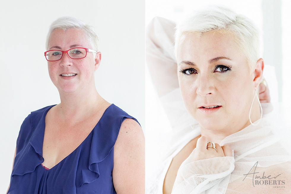 gorgeous lady before and after her studio photo session