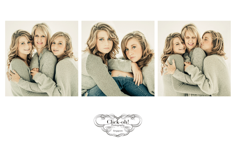 triptych of images with mother and daughters
