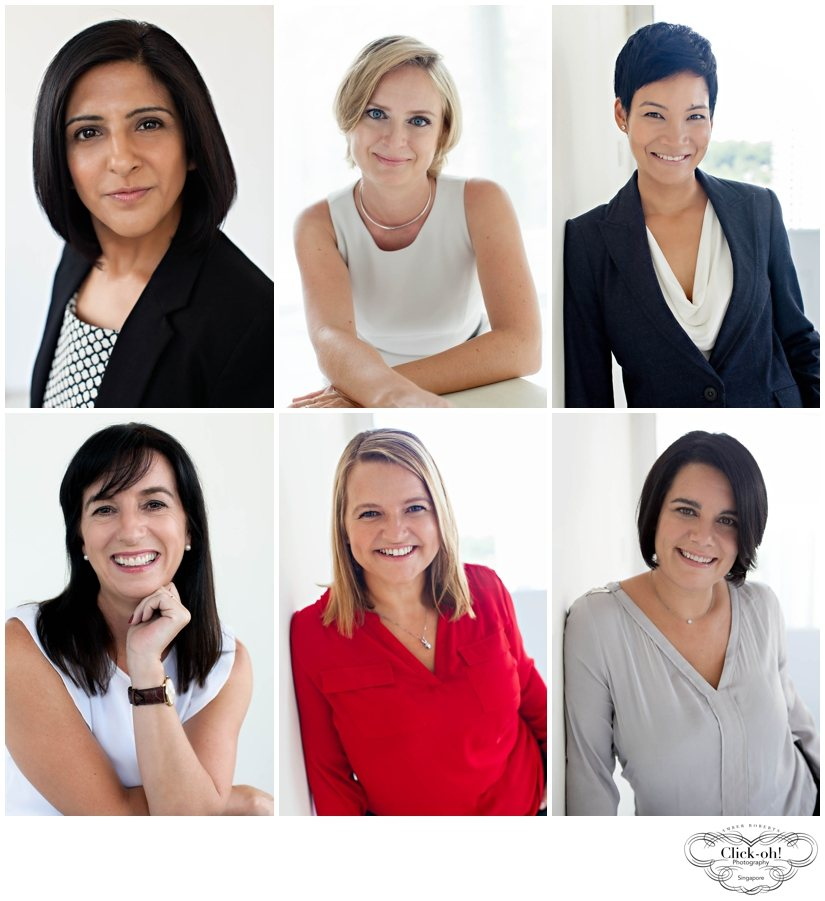 6 women pose for corporate headshots in the studio