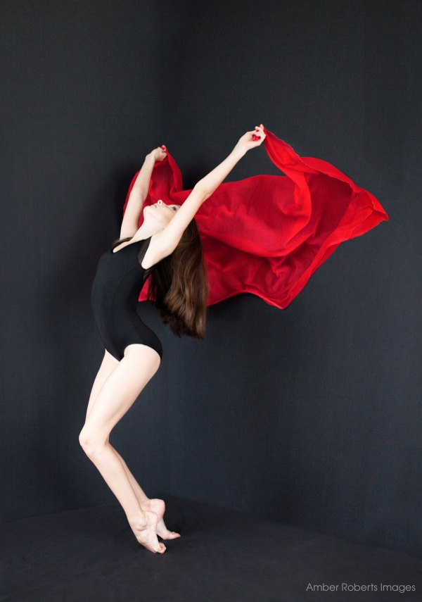 girl with red silk in contemporary dance pose minneapolis
