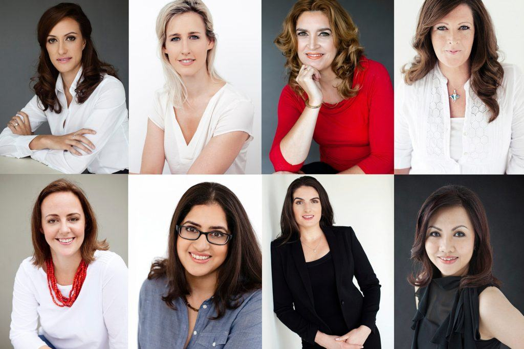 Set of corporate headshots of woman from all businesses