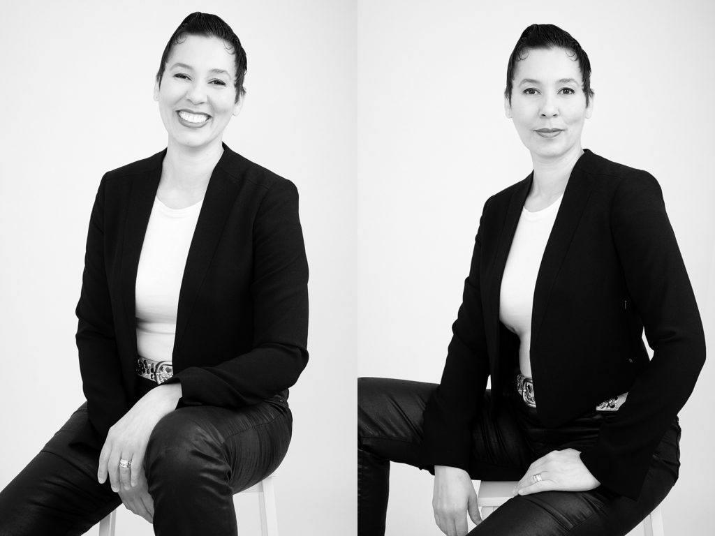 relaxed black and white business portraits of professional speaker coach in photo session with Amber Roberts Imgaes