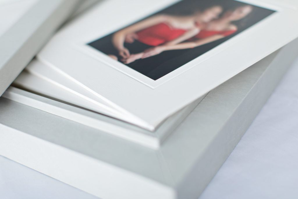 detail of matted print in folio box