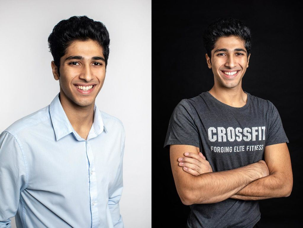 Business portrait of young man personal fitness trainer in studio photo session