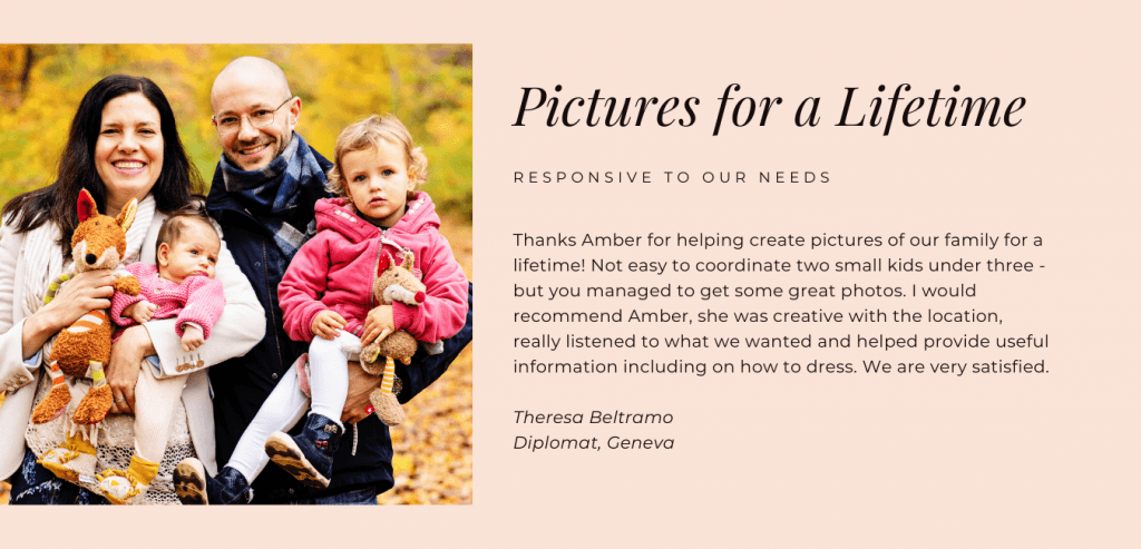 Rave review for family photographer Amber Roberts Switzerland
