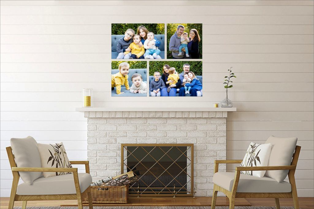 collection of canvases showing family photos